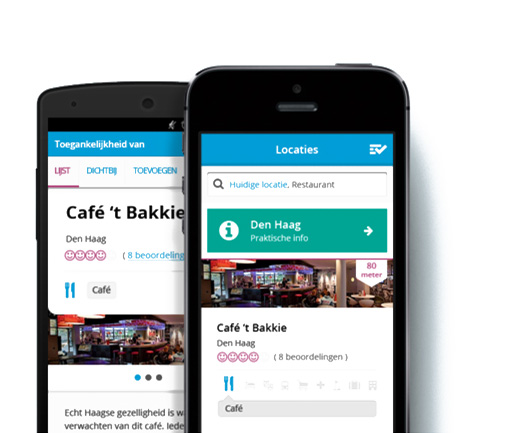 Foto van een telefoon waar de app op te zien is